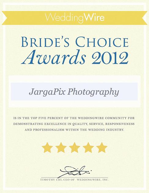 Wedding Wire Wedding Photography Award JargaPix Photography